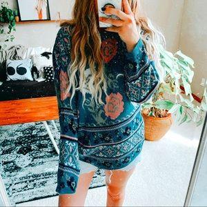 Feminine 🌺 floral oversized bohemian sweater p1